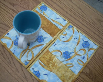 Blue and Gold Ribbon mug rugs again - FREE SHIPPING