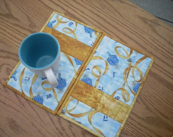 Blue and Gold Ribbon mug rugs - FREE SHIPPING