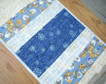 Blue Stars for Hanukkah tablerunner - FREE SHIPPING