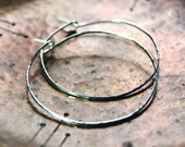 Silver Hoop Earrings - Artisan Hammered