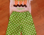 Boutique Easter Carrot Applique Shirt and Ruffle Pants Outfit Personalized