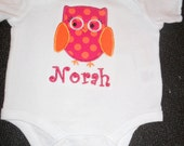 Boutique Personalized owl baby onesie