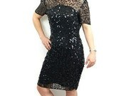 1980s sequin dress, black sequin dress, 80s cocktail dress, Leslie Fay Evenings, Size 8P
