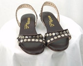 Vintage Enzo sandals,brown leather sandals, silver circles, studs, slingbacks, size 7.5M, Made in Italy
