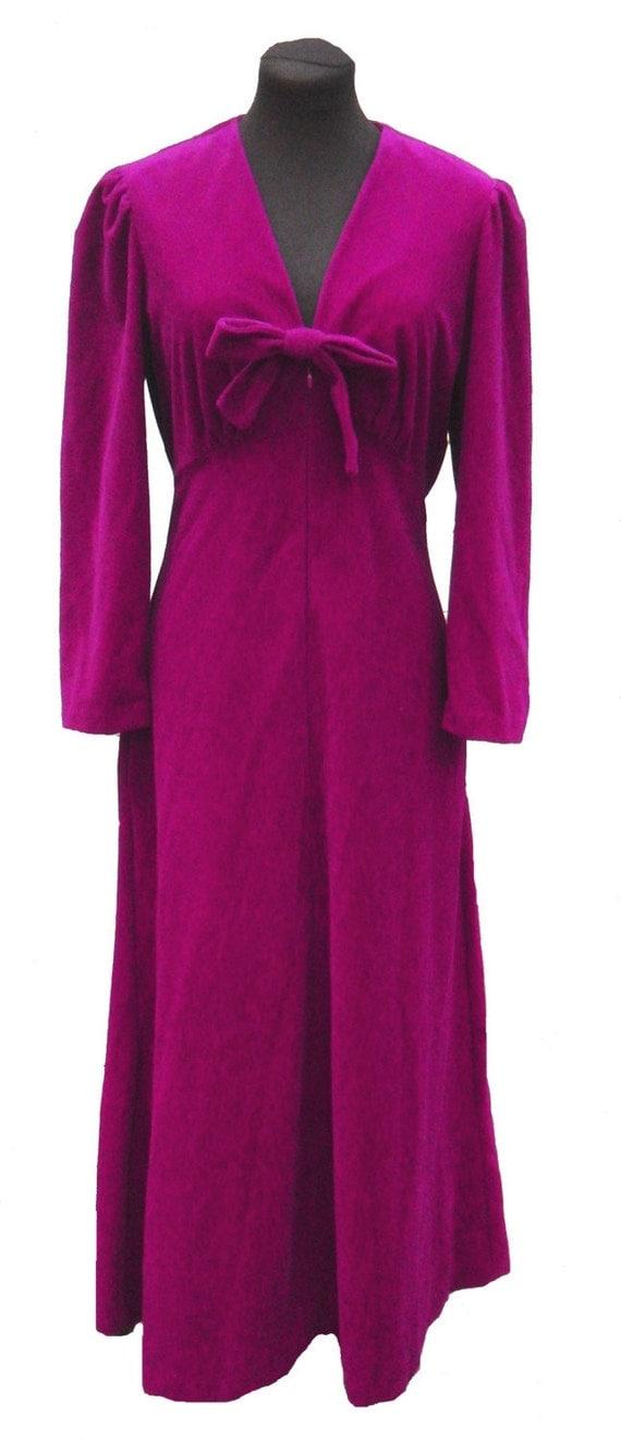 Vintage Vanity Fair Robe Purple Violet Velour Zip Up With Bow