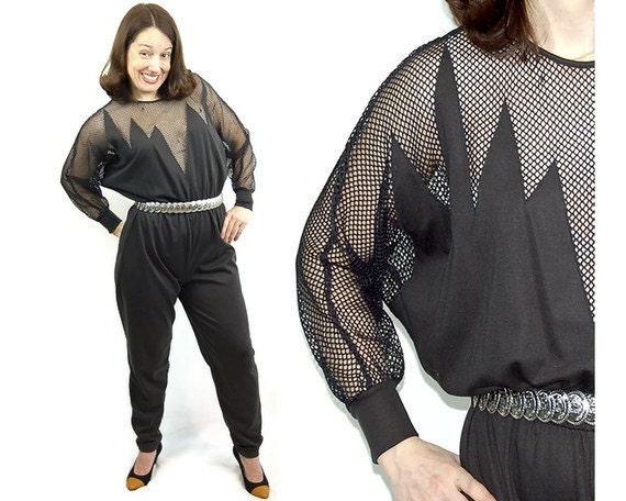 Vintage 1970s jumpsuit, disco jumpsuit , fishnet top, black romper, Fredericks of Hollywood, Size M