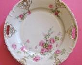 German Cake Plate Pink Roses