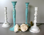 Brass Candlesticks, Vintage Beach Cottage, Shabby and Chic Candles, Coastal Cottage, Rustic, Aqua, White,