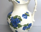 Vintage Pottery Pitcher, 1945 Vintage Pitcher, Cash Family Pottery, Blue Floral Pitcher, Cottage Chic, Farmhouse Decor, French Country