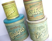 Vintage Tin Canister Set... Cookies Sugar Coffee Tea RESERVED for Lineca