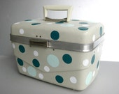 RESERVED for Michael-VintageTravel Case, Vintage Luggage, Cosmetic Case, Polka Dots, Beach Vacation, Cottage Chic, Teal, Aqua