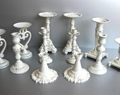 Vintage Candle Holders, Shabby and Chic Candles, Shabby White Decor, Rustic Farmhouse, French Country, Paris Apartment, Candle Holder Set