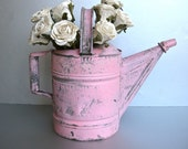 Pink Watering Can, Vintage Watering Can, Rustic Farmhouse, Shabby and Chic, Cottage Chic, Garden, Chippy Paint