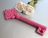 Vintage Key, Old Key, Skeleton Key, Hot Pink, Ornate Key, Rustic, Paperweight, Shabby and Chic, Cottage Chic