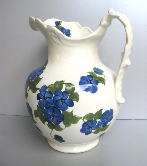 Vintage Pottery Pitcher, 1945 Vintage Pitcher, Cash Family Pottery, Blue Floral Pitcher, Cottage Chic, Farmhouse Decor, French Country