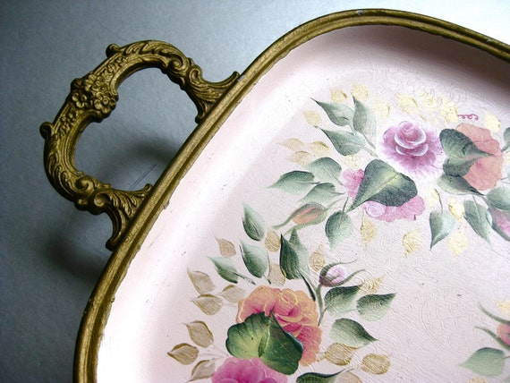 Shabby and Chic Tray, Vintage Tray, Floral Tray, Painted Tray, Roses, Cottage Chic, Footed Tray
