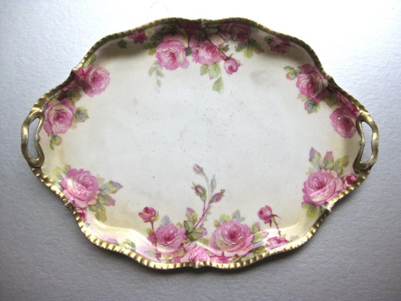 RESERVED for Lori-Antique Rose Platter, Prussia Platter, Vintage Platter, Serving Decor, Shabby and Chic, Cottage Chic, Pink Roses