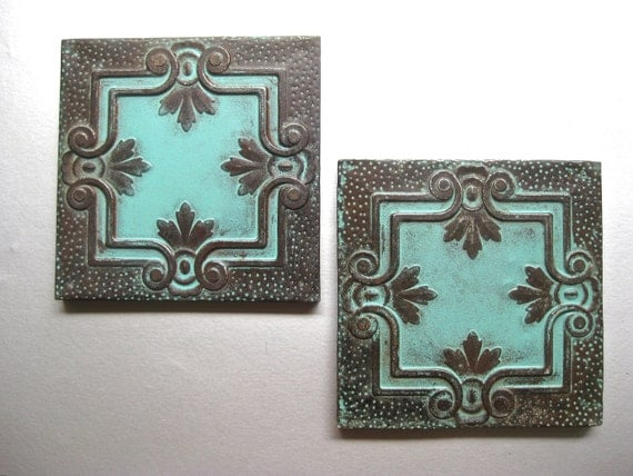 Paris Apartment Antique Tin Ceiling Tiles, Architectural Decor, Teal Decor, French Inspired, Shabby and Chic, Rustic Wall Decor