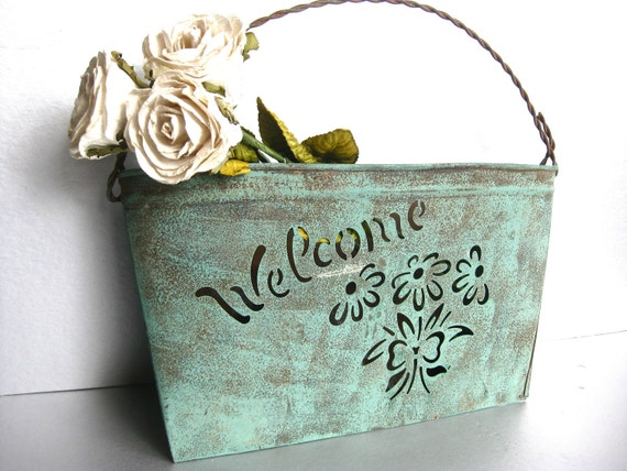 RESERVED for Megan Howell-Rustic Welcome Wall Pocket, Metal Basket, Shabby and Chic, Farmhouse, Cottage Chic, Aqua Decor
