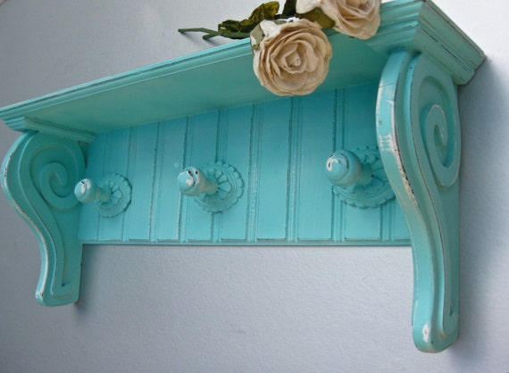 Shabby Aqua Shelf, Hooks, Beach Cottage, Wooden Shelf, Turquoise Decor, Organization, Rustic Farmhouse, French Country,Cottage Chic