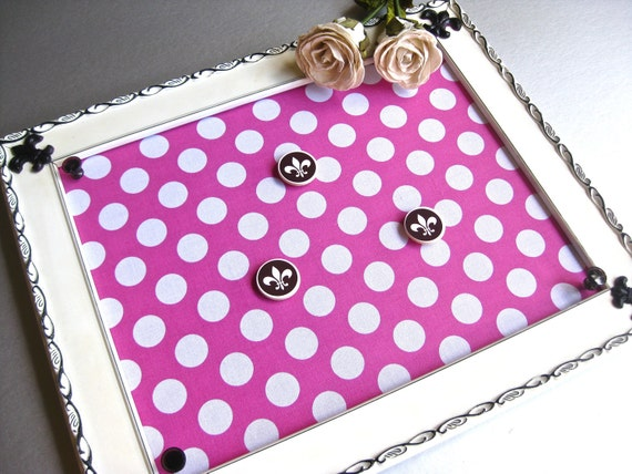 RESERVED for MiniGoddess-Polka Dot Memo Board, French Inspired, Cottage Chic, Fabric Memo Board, Pink Decor, Office Decor, Organize