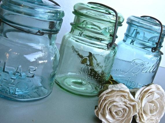 RESERVED for Ashley-Vintage Mason Jars, Atlas Jars, Ball Jars, Kitchen, Rustic Farmhouse, Shabby and Chic, Cottage Chic, Aqua Blue, Green