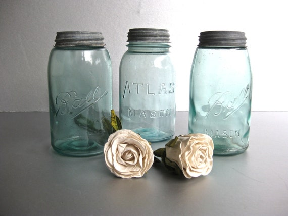 Vintage Mason Jars, Atlas Jars, Ball Jars, Kitchen, Rustic Farmhouse, Shabby and Chic, Cottage Chic, Aqua Blue, Green