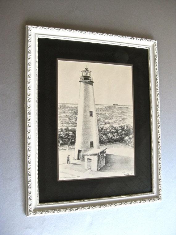 Lighthouse Art Drawing, Vintage Art, Beach Wall Art, Black and White, Nautical, Coastal Cottage, Farmhouse