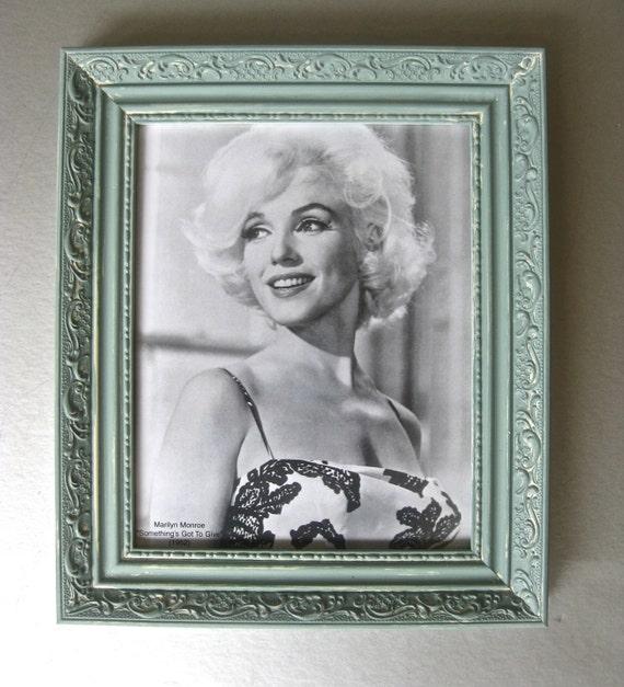 Vintage Marilyn Monroe Art, Shabby and Chic, Cottage Chic, Wall Art, Celebrity Art, Ornate Frame, Blue Frame, Black and White