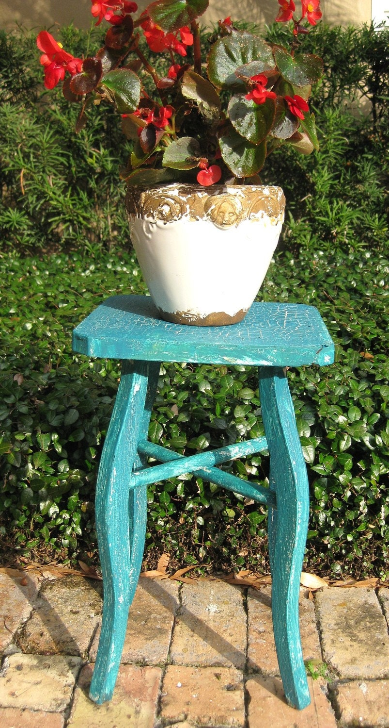 shabby chic crackle teal garden stool reserved for timhortons