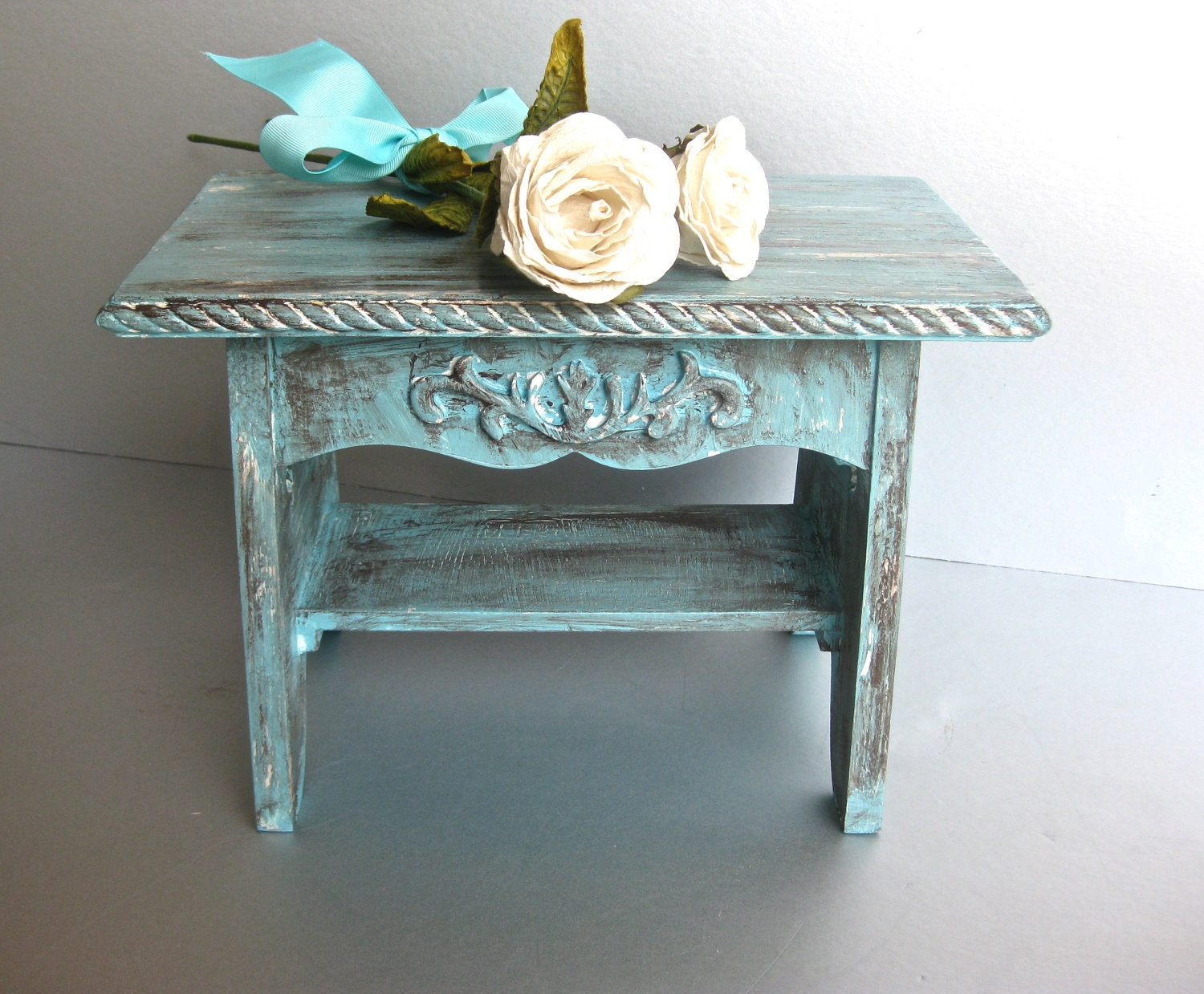 rustic aqua footstool shabby and chic stool french country. Black Bedroom Furniture Sets. Home Design Ideas