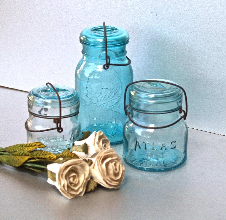 vintage mason jars atlas jars blue ball jars aqua blue. Black Bedroom Furniture Sets. Home Design Ideas