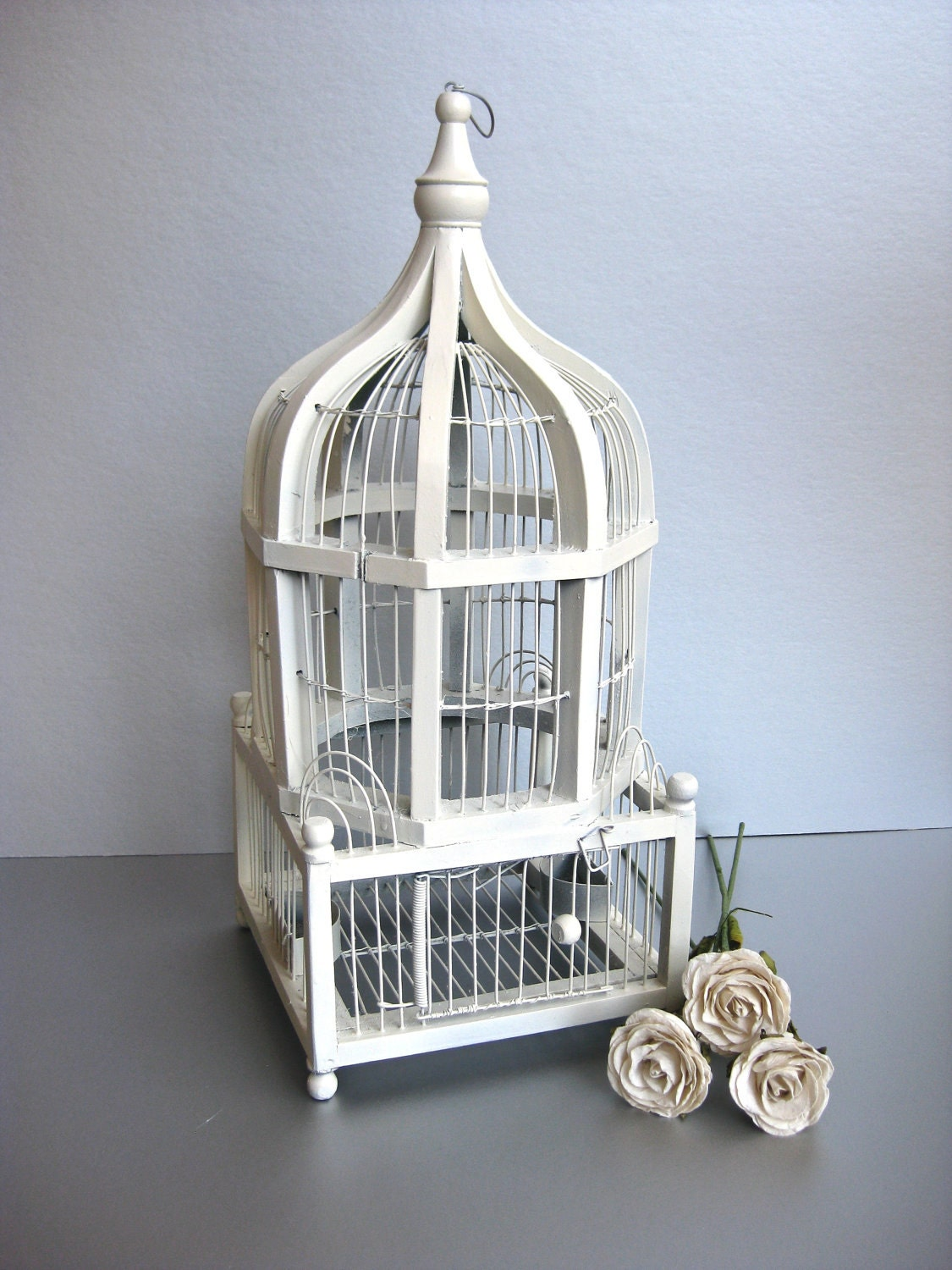 Vintage Bird Cage Shabby And Chic White Birdcage Cottage