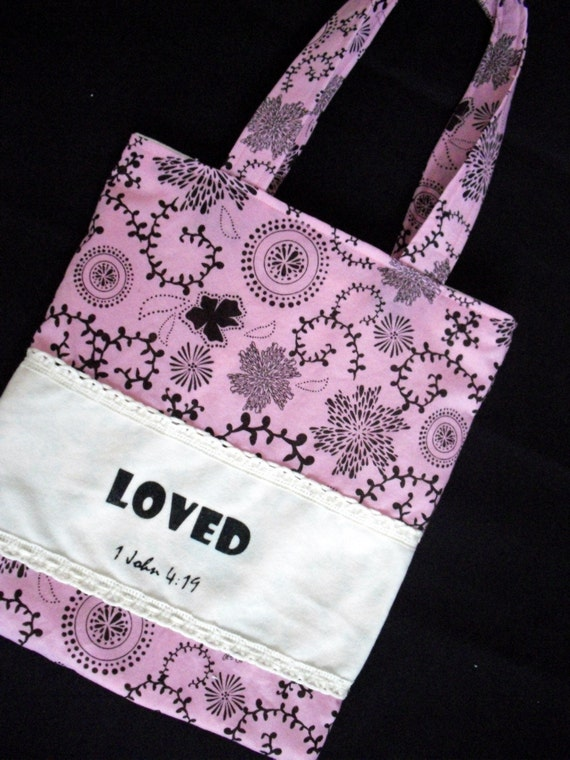 FREE SHIPPING Girl's  LOVED Small Tote in Pink and Black fabric with Lace Rick Rack