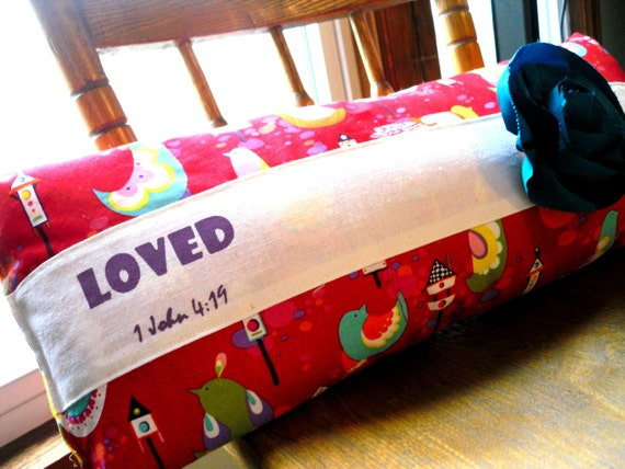 Red Pillow with a Message with detachable flower