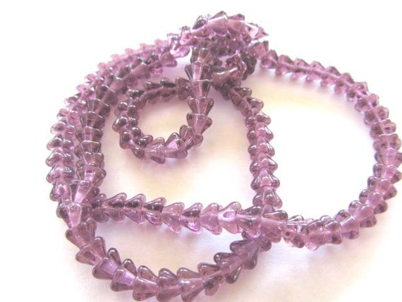 Amethyst Mini Bell Flower Beads, 25 per Package, 4mm