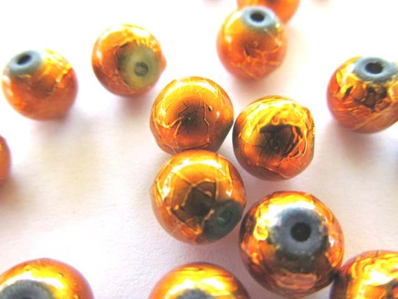 Yellow Orange Foil Beads, Package of 20, 8 mm