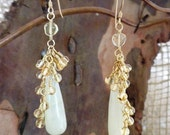 Dancing in the Rain Earrings in Serpentine,Citrine and Gold Filled
