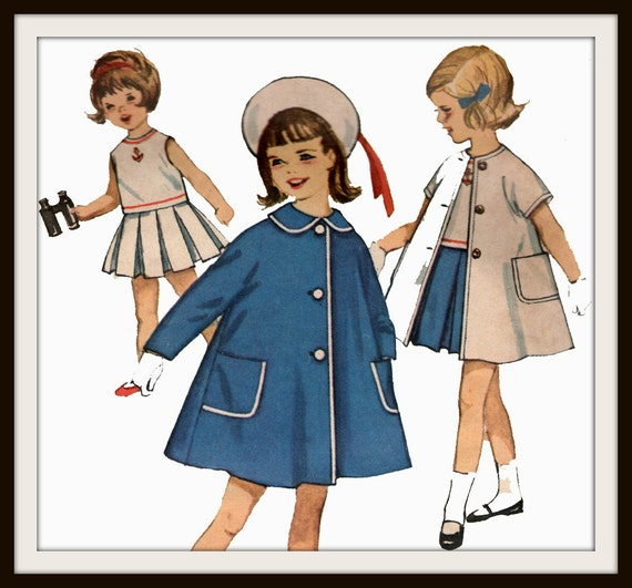Vintage 50s Toddler Girls Nautical Skirt Blouse and Coat Child Pattern