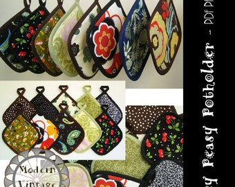 PDF Pattern and Tutorial - The EASY PEASY Potholder - Instant Download Sewing Pattern