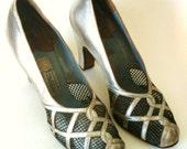 antique \/ vintage 1930-35 silver leather high heel shoes-9.5