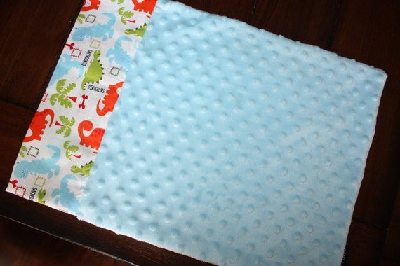 Toddler Pillowcase for 12x16- Dinosaurs and Light Blue Minky Dot