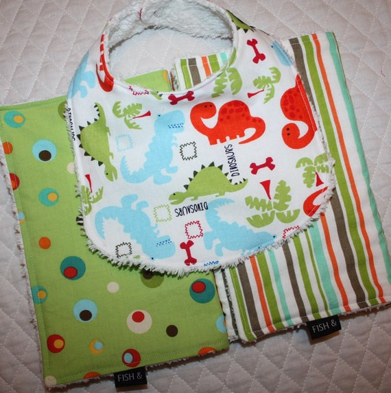 2 Burp Cloths and 1 Bib- Gift Set- Dinosaur and A to Zoo Fabrics