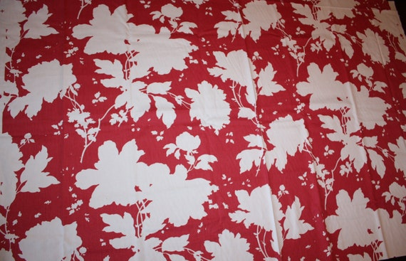 """One Yard White Floral on Red Fabric- Vintage Red and White Fabric- 1 yard x 56""""- Asian Floral Fabric"""