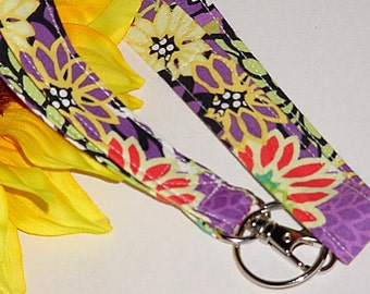 ID Badge Holder, Lanyard, Key Holder - Retro Wild Lavender Lanyard