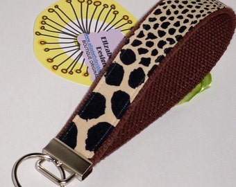 Wristlet Wild Cheetah Key Fob / Leopard Key Chain