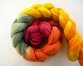 Hand painted Merino roving  Color Fail  2.5 oz