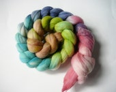Hand painted merino wool roving  Spring Garden  3.75oz