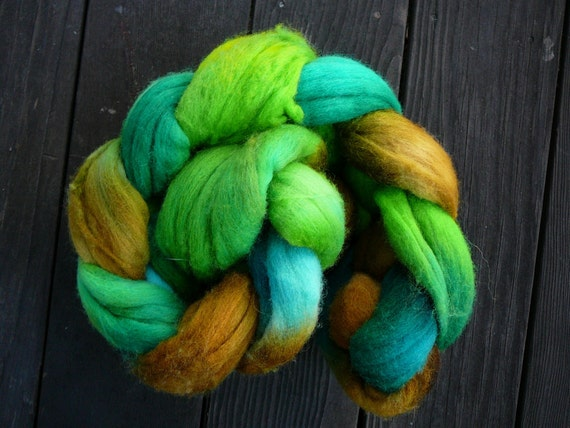 SALE  Hand painted Merino roving  Magical Forest  3.25 oz.