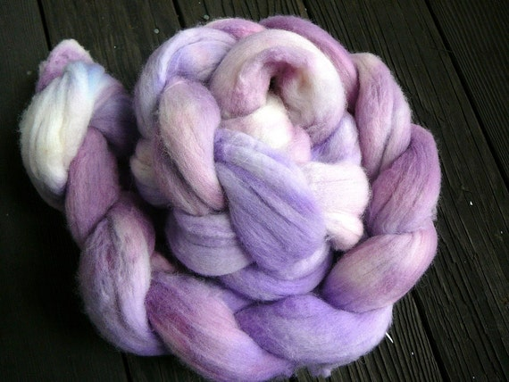 Hand painted merino wool roving  Purple Monkey Dishwasher  3.75oz